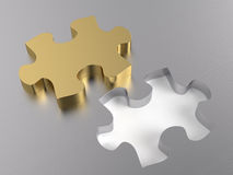 Jigsaw Puzzle. Golden jigsaw puzzle piece. Computer generated image with clipping paths Royalty Free Stock Photos