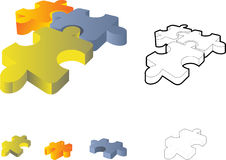 Jigsaw puzzle: 3d icon. Isolated on white Royalty Free Stock Image