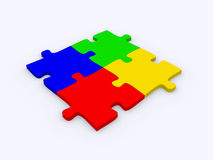 Jigsaw puzzle: 3d icon isolated Royalty Free Stock Photo