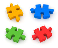 Jigsaw puzzle. 4 in 1 Stock Photo