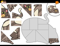 Jigsaw puzzle activity with cat. Cartoon Illustration of Educational Jigsaw Puzzle Activity for Children with Cat Animal Character Stock Photography