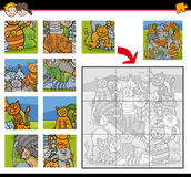 Jigsaw puzzle activity with cats. Cartoon Illustration of Education Jigsaw Puzzle Activity Task for Children with Cats Animal Characters Royalty Free Stock Image