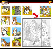 Jigsaw puzzle activity with dogs. Cartoon Illustration of Education Jigsaw Puzzle Activity Task for Preschool Children with Dogs Animal Characters Royalty Free Stock Photos
