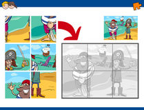 Jigsaw puzzle activity with pirates. Cartoon Illustration of Educational Jigsaw Puzzle Activity for Preschool Children with Pirates Fantasy Characters Royalty Free Stock Photography