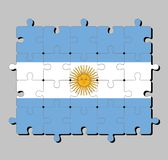 Jigsaw puzzle of Argentina flag in a horizontal triband of light blue top and bottom and white with the Sun of May. Concept of Fulfillment or perfection royalty free illustration