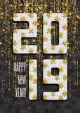 2019 jigsaw puzzle background with many golden glitter and black pieces. Happy New Year card design. Abstract mosaic stock photo