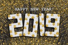 2019 jigsaw puzzle background with many golden glitter and black pieces. Happy New Year card design. Abstract mosaic royalty free stock photos