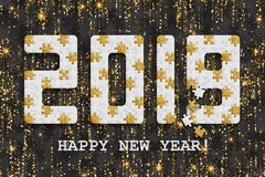 2019 jigsaw puzzle background with many golden glitter and black pieces. Happy New Year card design. Abstract mosaic royalty free stock photography