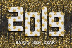 2019 jigsaw puzzle background with many golden glitter and black pieces. Happy New Year card design. Abstract mosaic royalty free stock image