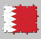 Jigsaw puzzle of Bahrain flag in five white triangles in the form of zigzag on red field. Concept of Fulfillment or perfection stock illustration