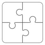 Jigsaw puzzle blank  2x2, four pieces. Jigsaw puzzle , blank simple template 2x2, four pieces Stock Image