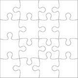 Jigsaw Puzzle Blank Template Or Cutting Guidelines Of 20 Pieces Plain