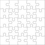 Jigsaw puzzle blank. Jigsaw puzzle blank template or cutting guidelines of 25 pieces. Plain white jigsaw puzzle, on white background. Vector  illustration Royalty Free Stock Images