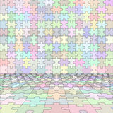 Jigsaw puzzle blank room in perspective. Vector illustration Stock Photos