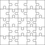 25 Jigsaw puzzle blank template. Or cutting guidelines Stock Image