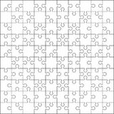 100 Jigsaw puzzle. Blank template or cutting guidelines vector illustration