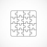 Jigsaw puzzle blank template sixteen elements Royalty Free Stock Photo
