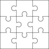Jigsaw puzzle blank template 3x3 Royalty Free Stock Images