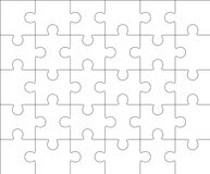 Jigsaw puzzle blank template 5x6, thirty pieces Stock Photos