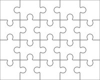 Jigsaw puzzle blank template 4x5, twenty pieces Royalty Free Stock Photography