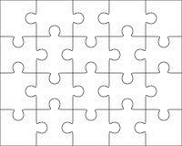 Jigsaw puzzle blank template 4x5, twenty pieces Royalty Free Stock Photography