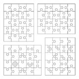 Jigsaw puzzle blank templates. 4x5 and 5x4 of various cutting guidelines Royalty Free Stock Photos