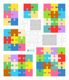 Jigsaw puzzle blank templates, colorful patterns. Jigsaw puzzles 2x2, 2x3, 3x3, 3x4 and 4x4 blank templates (cutting guidelines) and colorful patterns of trendy Stock Photography