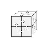Jigsaw puzzle blank vector 2x2, four pieces Stock Photo