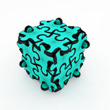 Jigsaw Puzzle Blue Box. Black and white 3d jigsaw puzzle piece box, isolated Stock Photos