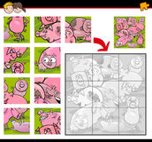 Jigsaw puzzle cartoon Royalty Free Stock Images