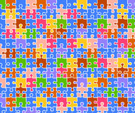 Jigsaw puzzle color background. Vector illustration as background of jigsaw puzzle bricks of different colors, related to children and school or toys royalty free illustration
