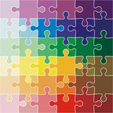 Jigsaw puzzle color of the rainbow. illustration Royalty Free Stock Photo