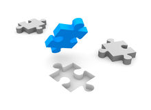 Jigsaw puzzle concept. On white background Royalty Free Stock Photo
