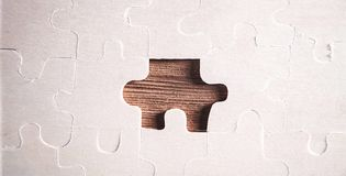Jigsaw puzzle. Concept of business challenge completion royalty free stock photography