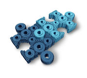 Jigsaw Puzzle Connections. Business concept building a working network partnership for communication between two groups of teams as three dimensional gears and Royalty Free Stock Photography