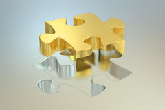 Jigsaw puzzle, 3D rendering. On silver Royalty Free Stock Images