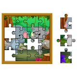 Jigsaw Puzzle Education Game with elephant and rhino in the jungle. Illustration of Jigsaw Puzzle Education Game with elephant and rhino in the jungle Royalty Free Stock Photography