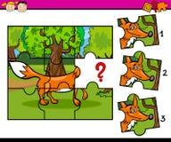Jigsaw puzzle educational task. Cartoon Illustration of Jigsaw Puzzle Educational Task for Preschool Children with Fox Animal Character Stock Photos