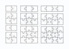 Jigsaw puzzle  flat blank templates set Royalty Free Stock Photos
