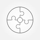 Jigsaw puzzle in the form of circle. Royalty Free Stock Image