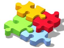 Jigsaw puzzle four color. Four pieces of colored puzzle Stock Photography