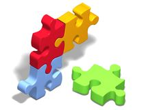 Jigsaw puzzle four color Stock Photos