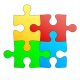 Jigsaw puzzle in four colors. illustration Stock Photography