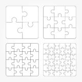Jigsaw puzzle four  flat blank templates set Royalty Free Stock Photography