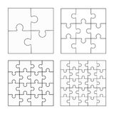 Jigsaw puzzle four vector flat blank templates set. Jigsaw puzzle four vector templates set, blank simple pieces Stock Images