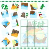 Jigsaw Puzzle game for Children Cartoon with Island and Ship Royalty Free Stock Images