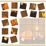 Jigsaw Puzzle game for Children with pumpkins - halloween Stock Photography