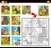 Jigsaw puzzle game with dogs. Cartoon Illustration of Education Jigsaw Puzzle Activity for Preschool Children with Dogs Animal Characters stock illustration