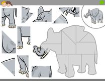 Jigsaw puzzle game with elephant animal Stock Photos