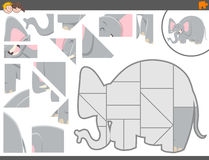 Jigsaw puzzle game with elephant Stock Photos